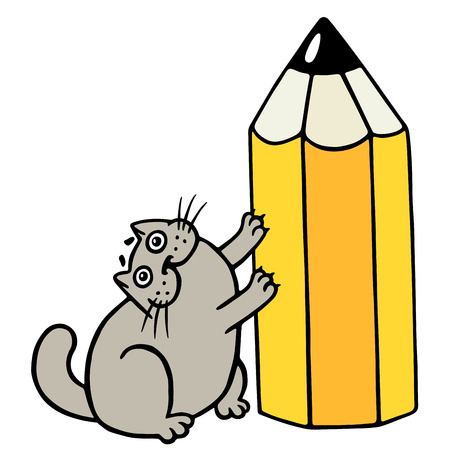 Cheerful fat cat loves pencils. Cartoon cool character. Isolated vector illustration. Illustration