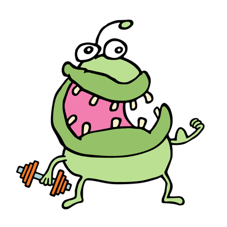 eager: Cartoon green monster keeps a dumbbell. Playing sports. Cute character. Vector illustration. Illustration