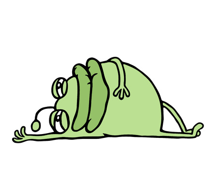 Cartoon Green Germ Resting Lying Down After Meal Holidays And Vacations Cute Animation Character