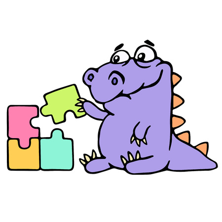 Cartoon purple croc playing with a puzzles. Vector illustration. Digital drawing cute character. Ilustração