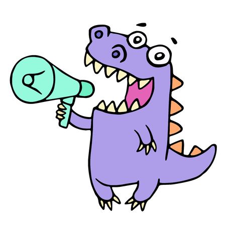 Happy purple dragon shouting in loudspeaker. Vector illustration. Cute cartoon character. Illustration