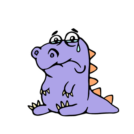 Cartoon purple sad dino. Vector illustration. Digital drawing melancholy cute character.