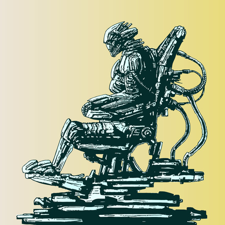 Spaceman invader sits in suit on his iron throne. Science fiction original character. Vector illustration.