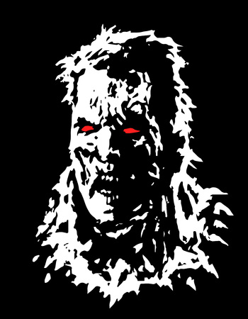 Angry zombie head. Vector illustration. Black and white colors.