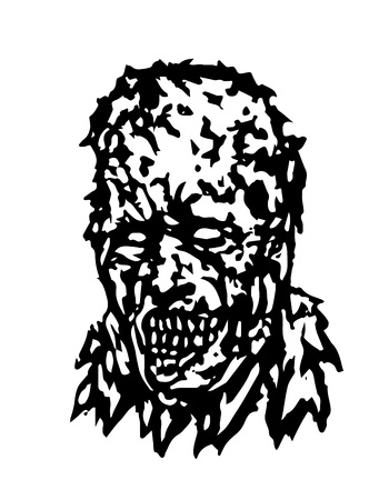 Anger head of zombie. Vector illustration. Black and white colors.