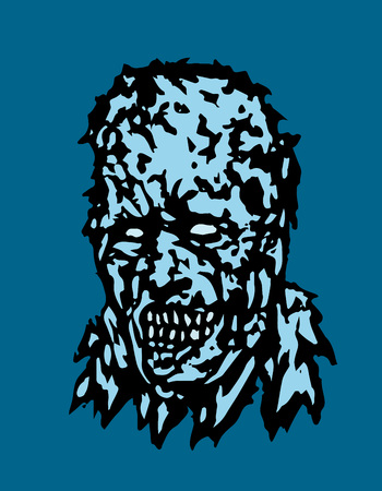 Anger head of zombie. Vector illustration. States of mind. Horror genre.