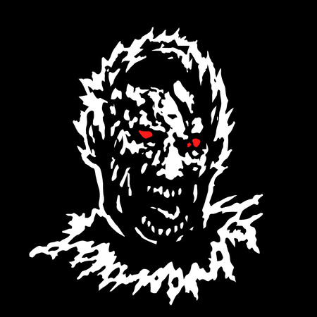 frenzy: Frenzy zombie head. Vector illustration. Black and white colors.