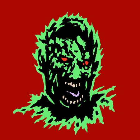 frenzy: Frenzy zombie head. Horror image. Vector illustration