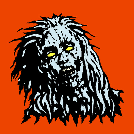 cruel: Dreadful head of zombie girl. Horror image. Vector illustration Illustration