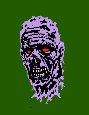 Scary zombie head. Horror image. Vector illustration