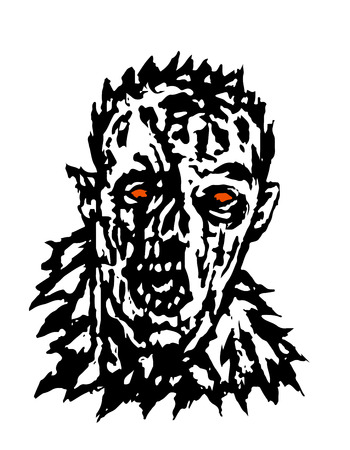 Wrath of the zombie. Vector illustration. Black and white colors. Scary monster face. Ilustrace