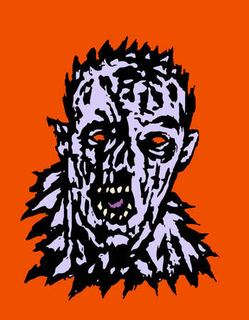 Wrath of the zombie. Vector illustration. States of mind. Genre of horror. Scary monster face. Ilustrace