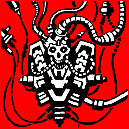 Fantastic metal skeleton in wires. Iron skull. Vector Illustration. A supercomputer in the form of a human. Creating a robot at the factory. Assemblage of details. Red background
