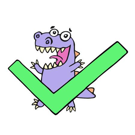Happy dragon and big green tick. Vector illustration. Cute cartoon imaginary character.