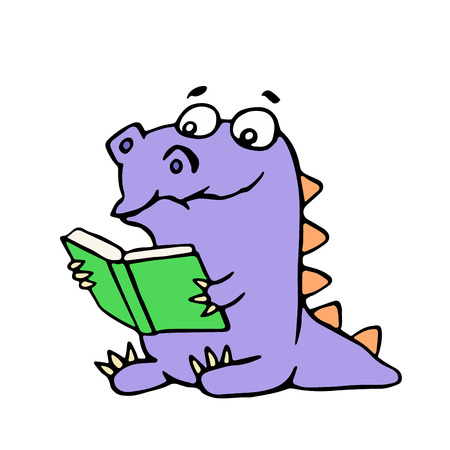 Happy purple dragon sits and reads a book with glasses. Vector illustration. Cute cartoon character.