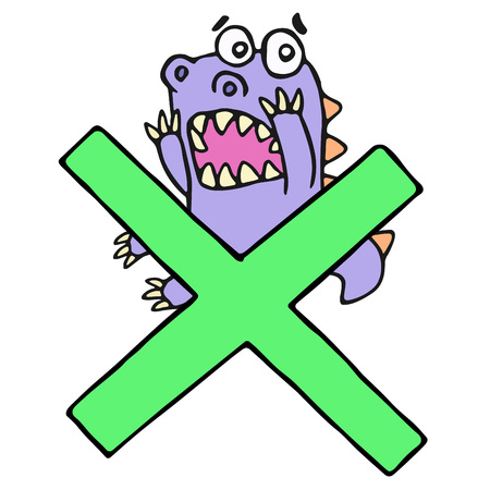 test results: Scared purple dragon and big green cross mark. Vector illustration. Funny cartoon imaginary character on isolated background.