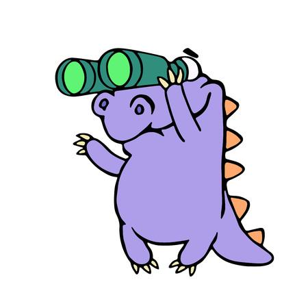 Cartoon purple croc looking through binoculars. Vector illustration. Optical device. Digital drawing cute imaginary character.