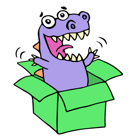 expenses: Happy purple dragon in green box. Vector illustration. Cute cartoon imaginary character.
