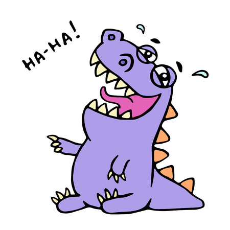 Cute purple dragon funny laughs. Vector illustration. Friendly cartoon happiness character.