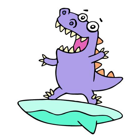 Cartoon purple dinosaur surfer on surfboard caught a wave.. Vector illustration. Cute imaginary animal character.