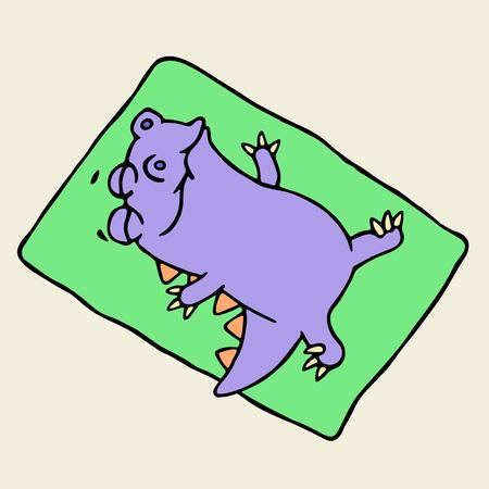 humorous: Cute purple dragon sunbathing on the beach. Vector illustration. Funny imaginary character. Illustration