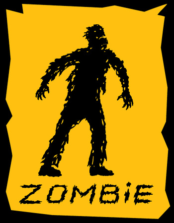 Silhouette of a walking zombie concept. Vector illustration. Drawing horror character design. Orange color background. Illustration