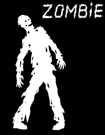 Silhouette of a standing zombie concept in black and white colors. Vector illustration. Scary character design. The horror genre.