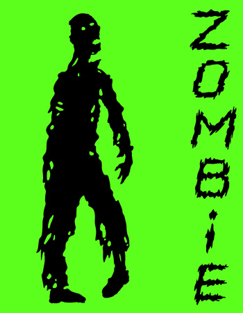 One-armed zombies silhouette in black and green colors. Vector illustration. Scary character design. The horror genre.