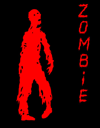 One-armed zombies silhouette in black and red colors. Vector illustration. Scary character design. The horror genre. Illustration