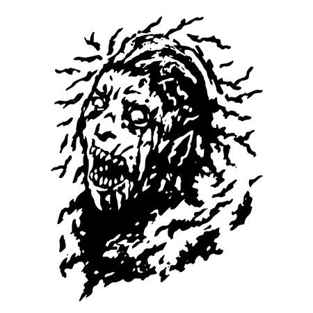 frenzy: Scary head of zombie.