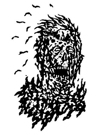 Putrid head of zombie face.