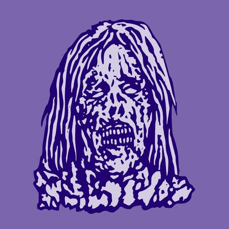 Putrid head of zombie face. Stock Vector - 83716966