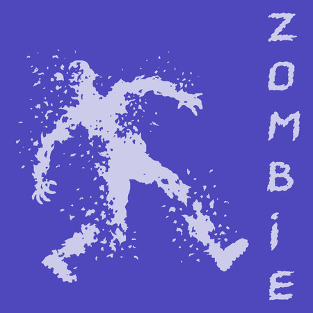 Zombies silhouette in leaky clothes. Vector illustration. The horror genre. Purple color background.