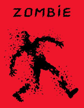 누더기 옷을 입은 좀비 군인 실루엣으로 총알로 가득 찼다. 벡터 일러스트 레이 션. 공포 장르. 빨간색 배경입니다. 일러스트