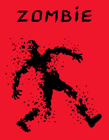 Riddled with bullets zombie soldier silhouette in leaky clothes. Vector illustration. The horror genre. Red color background.
