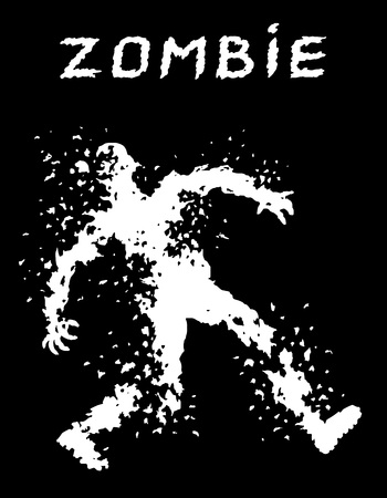 A bullet-riddled body of zombies silhouette. Vector illustration. The horror genre. Black color background.
