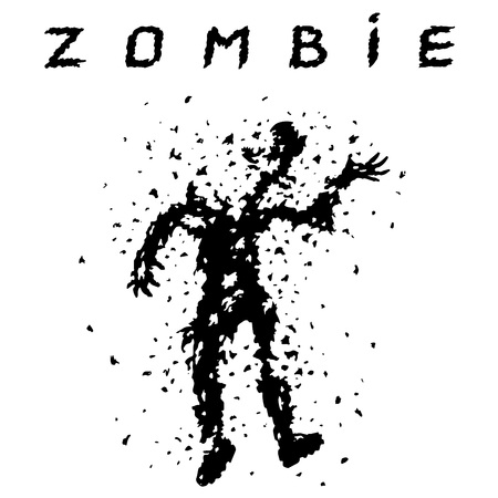 Shooting a zombie from a machine gun. Vector illustration. Scary character silhouette. The horror genre.