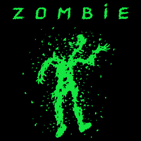 Shooting a zombie from a machine gun. Vector illustration. Scary character silhouette. The horror genre. Black color background. Illustration
