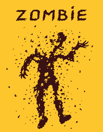 Riddled with bullets of zombies concept. Vector illustration. Scary character silhouette. The horror genre. Orange color background.