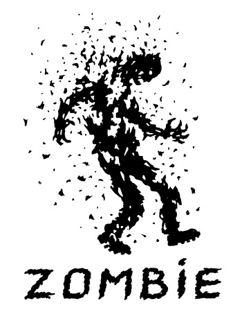 Shoot the zombies! Vector illustration. Scary character silhouette. The horror genre. White color background.