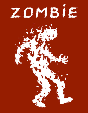 War with the invasion of zombies. Vector illustration. Scary character silhouette. The horror genre. Red color background.