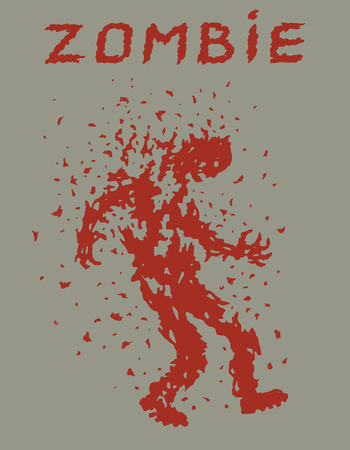 Zombies invasion stopping. Vector illustration. Scary character silhouette. The horror genre. Gray color background.