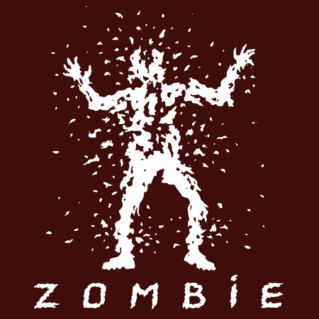 Hunting for zombies with a machine gun. Vector illustration. Scary character silhouette. The horror genre. Red color background.