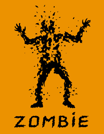 Do not spare the bullets for zombies! Vector illustration. Scary character silhouette. The horror genre. Orange color background.