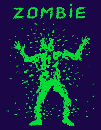 Shoot the zombie silhouette. Vector illustration. The horror genre. Purple color background. Illustration
