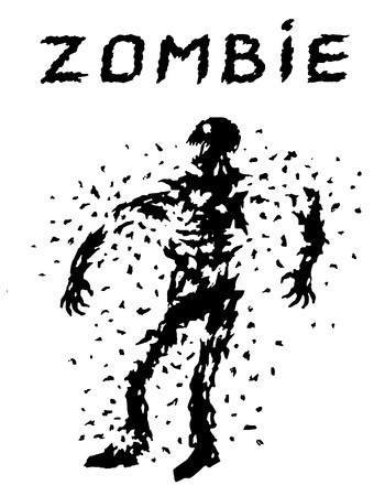 Shoot the zombies from all guns! Scary character silhouette. The horror genre. White color background.