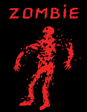 Riddled with bullets zombie soldier silhouette. Vector illustration. The horror genre. Black color background.