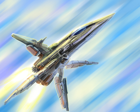 Spaceship is gaining light speed. Science fiction illustration. Freehand digital drawing.