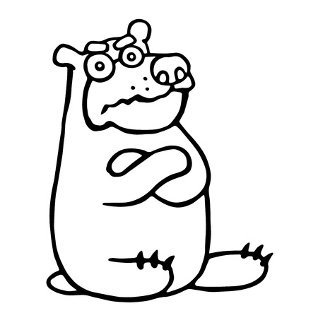 Cute grumpy cartoon bear sitting with cross-fronted paws. Vector illustration. Funny animal character.