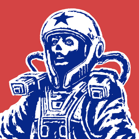 Woman astronaut on red background. Vector Illustration. Isolated vector illustration.